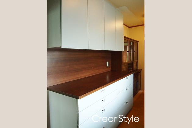 既存の食器棚の色と合わすオーダー食器棚